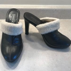 NWOT COACH Fur and Leather Heeled Mules